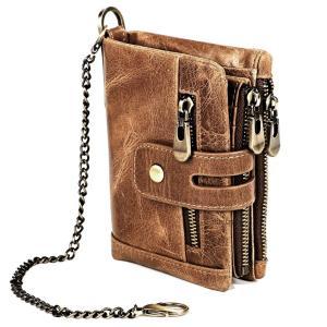 送料無料:多機能 牛革二つ折り財布 大型小物入れ 小銭入有・カード入7枚対応 大型ファスナーで大容量の収納力