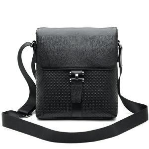 潮牛 星柄押し 本革 レザー メンズ ショルダーバッグ iPad B5対応 ブラック 黒 肩・斜め掛け カジュアル 鞄|tidingleather