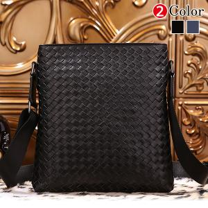 潮牛 イントレチャート 本革 レザー メンズ ショルダーバッグ 黒 iPad対応 手作り メッシュ 編み込み 鞄|tidingleather