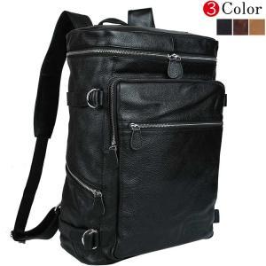 潮牛 超大容量 ボックス型 本革 メンズ レディース リュックサック 17PC A3対応 黒 2WAY仕様 ディパック バックパック アウトドア 旅行 鞄|tidingleather