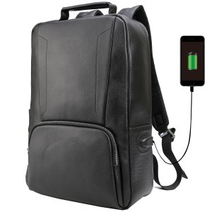 b85c942d75a3 TIDING メンズ カーフレザー 子牛革 リュックサック バックバッグ USBポート搭載 充電 大容量