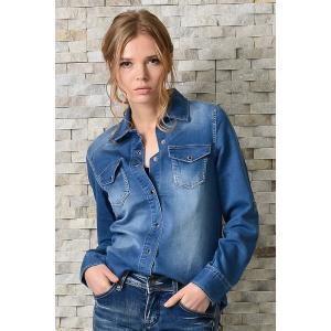INDIMARK インディマーク カットデニムシャツ ブルー WT013-4 正規品[小さいサイズ/大きいサイズ/レッドペッパージーンズ/バーゲン/セール/激安/特価]|tifose