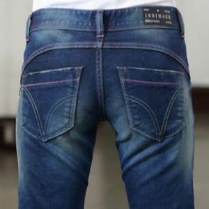 ピンクラインアクセントタイトストレートジーンズインディゴINDIMARK インディマークW011正規品 小さいサイズ 大きいサイズ ボトムス ジーパン デニムパンツ レ|tifose
