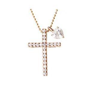 レディースネックレス クロス ハート 十字架 シルバーSV925 ピンクゴールドプラチナコーティング ストーン 石付き 上品 大人気ブランド ペンダント|tifose