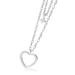 流行の重ね着け可愛さたっぷりのネックレスk10天然ダイヤモンド0.03ctハート2連ネックレス|tifose