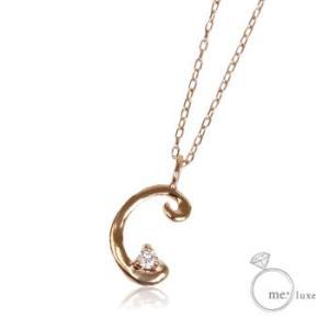天然ダイヤモンドレディースイニシャルネックレスアルファベットCホワイトピンクゴールド誕生石4月大人気ブランドかわいい可愛いペンダントアクセサリーK10WGPG|tifose