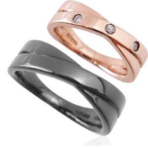クロスラインペアリング指輪 シルバーSV925ピンクゴールド・ブラックコーティング レディース メンズ アクセサリー 女性男性 ストーン 石付き ジュエリー|tifose
