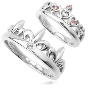 クラウン王冠ペアリング指輪 シルバーSV925プラチナコーティング レディース メンズ アクセサリー 女性男性セット 大人 記念日婚約指輪|tifose