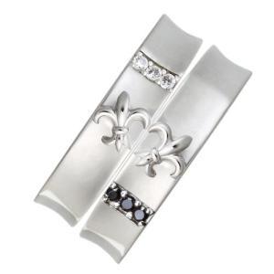 ユリの紋章リリーハート型ストーンペアリング指輪 シルバーSV925ロジウムコーティング レディース メンズ|tifose