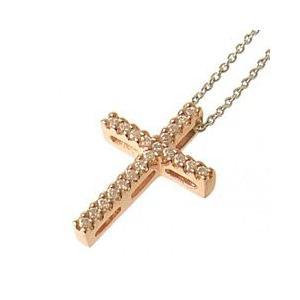 十字架クロスラインレディースネックレス ピンクゴールド with me.ウィズミー#95-2236pgメンズ|tifose