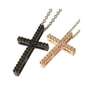 十字架クロスラインペアネックレス ピンクゴールド ブラック with me.ウィズミー#95-2236pg-2237bメンズ|tifose