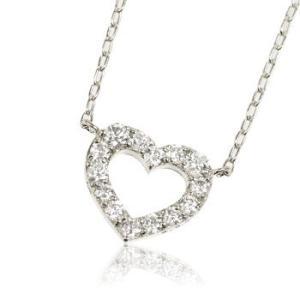 K18WGホワイトゴールド天然ダイヤモンド0.3ctオープンハートレディースネックレス me.luxeミーリュックス#95-8035ウィメンズ|tifose