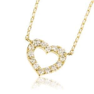 K18YG天然ダイヤモンド0.3ctオープンハートレディースネックレス me.luxeエムイーリュックス#95-8037ウィメンズ|tifose