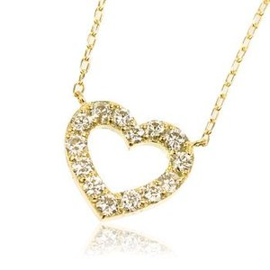 K18YG天然ダイヤモンド0.3ctオープンハートレディースネックレス me.luxeエムイーリュックス#95-8038ウィメンズ|tifose