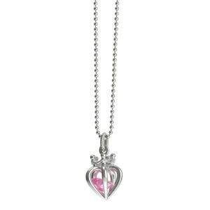 ピンクCZ 3Dハートストーンネックレス シルバー[ウィメンズ/クリスマス/母の日/バレンタインデー/ホワイトデー/結婚記念日/婚約/シルバー]|tifose