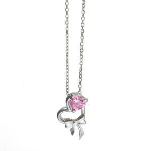 ピンクCZ リボン付きハートネックレス シルバー[ウィメンズ/クリスマス/母の日/バレンタインデー/ホワイトデー/結婚記念日/婚約/シルバー]|tifose