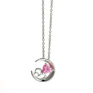 ピンクCZ ロマンティックムーンネックレス シルバー[ウィメンズ/クリスマス/母の日/バレンタインデー/ホワイトデー/結婚記念日/婚約/シルバー]|tifose