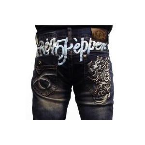 レッドペッパージーンズ メンズ REDPEPPER JEANS#6114-3正規品ドラゴン竜龍ロゴ刺繍ストレートデニムパンツ|tifose