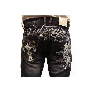 レッドペッパージーンズ メンズ REDPEPPER JEANS#6174正規品ユニコーンクロス十字架刺繍ペガサスストレートデニムパンツ|tifose