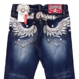 レッドペッパージーンズ メンズ REDPEPPER JEANS#8853-7正規品ウイング羽ウィングバック刺繍ストレートデニムパンツ|tifose
