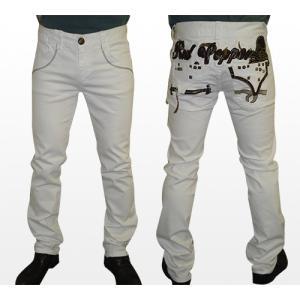 【送料無料】RED PEPPERレッドペッパーセミストレートジーンズ/ホワイト/正規品/メンズ大きいサイズ/韓国デニム/ジーパン/パンツ/レディース|tifose