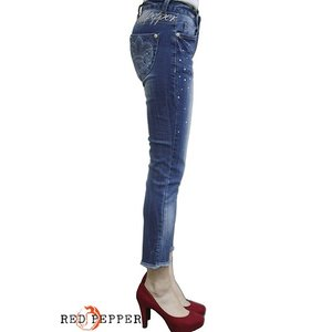 RED PEPPER JEANS レッドペッパージーンズ レディース裾フリンジ加工 メタルストーン付きクロップドパンツ RJ1034|tifose|02