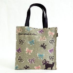 T&Tコーポレーション黒猫ねこリボンサブミニトートバッグ外出レジャーバックランチバッグお弁当袋フェミニン雑貨かわいい小さいかばん|tifose