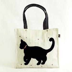 T&Tコーポレーション黒猫キャットねこガーリーサブミニトートバッグ 外出レジャートラベルバック お弁当袋 フェミニンかわいい小さいかばん|tifose