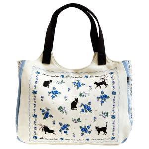 T&Tコーポレーション ハンドバッグ かわいい ラウンドトートバッグ レディース 黒猫 うさぎ 花柄 A4ファイル入る鞄 大きいかばん ショルダーバッグ|tifose