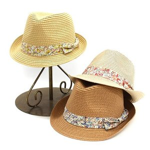麦わら帽子風 可愛い ガーリー 春夏 レディース ぼうし 花柄リボン付き 中折れ ハット かわいい 雑貨|tifose