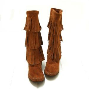 **【MINNETONKA】(#1632)Women's 3-Layer Fringe Boot