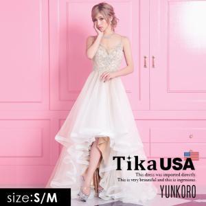 c637ebbd2d633 キャバドレス Tika USA L.Aインポートドレス ゆんころ ドレス着用 ビジュー スパンコール ボリューム チュール ロングテールドレス  ベージュ×ホワイト S M