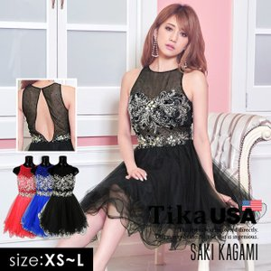1292323ee9c47 キャバ ドレス キャバドレス 大きいサイズ Tika USA L.Aインポートドレス リボンモチーフ 胸元ビジュー切替 フレア ミニドレス レッド  ブルー ブラック XS S M L