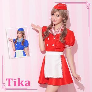 6d79e3b33a5 コスプレ 衣装 ハロウィン Tika ティカ 3点set レトロ ウエイトレス コスチュームセット ワンピース エプロン 帽子 レッド ブルー 通販  激安 格安