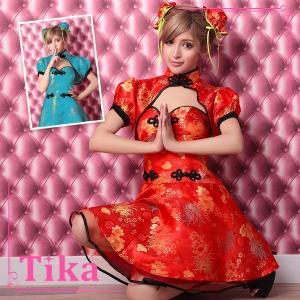 コスプレ 衣装 ハロウィン Tika ティカ 3点set Aライン チャイナドレス コスチュームセッ...