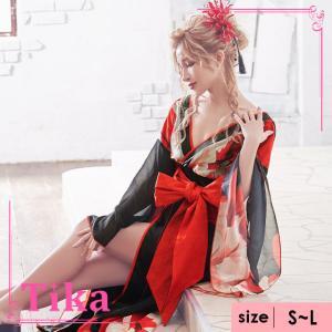 aab19ef0268d5 キャバ ドレス キャバドレス 大きいサイズ 着物風 ロング 黒 赤 紺 色気 Tika ティカ 花柄和 テイスト ロングドレス ブラック×レッド  ブラック×ネイビー M L