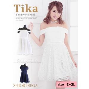 c03f63698caf0 キャバ ドレス キャバドレス 大きいサイズ S〜XL ミニ Tika ティカ 総レースフレアミニドレス ...
