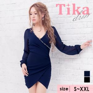 442b1f6fc12eb キャバ ドレス キャバドレス 大きいサイズ 紺 黒 カシュクール 激ミニ Tika ティカ ネックパール ラップ風 ミニドレス ネイビー ブラック S サイズ〜XXLサイズ