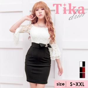 e7c2900a69d4d キャバ ドレス キャバドレス 大きいサイズ 黒 白 赤 Tika ティカ レース袖 バイカラー タイトミニドレス ホワイト×ブラック ブラック×レッド S  M L XL XXL