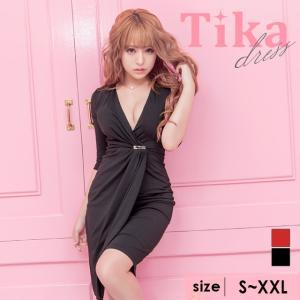 80afd64e5c3e4 キャバ ドレス キャバドレス 大きいサイズ 赤 黒 Tika ティカ Vネック ラップ風 タイト ミニドレス ベージュ ワインレッド ブラック S M  L XL XXL 通販 激安