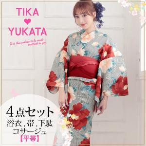 浴衣 セット かわいい浴衣 Tika ティカ 椿×ストライプ...