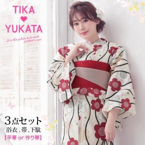 Tika 2019年 新作浴衣 浴衣 帯 下駄 3点セット 丸み 椿 女性らしさ アップ かわいい ...