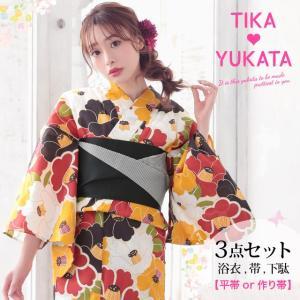 Tika 2019年 新作浴衣 浴衣 帯 下駄 3点セット 丸み たくさん 色 椿 周り 視線 誘う...