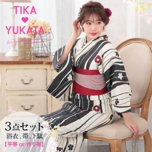 Tika 2019年 新作浴衣 浴衣 帯 下駄 3点セット 帯 平帯 作り帯 お好きな方 お選び 縦...