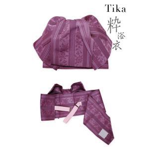 浴衣 ゆかた レディース モダン 上下 セパレート クール 黒 赤 Tika ティカ 二部式浴衣 3点セット セパレート浴衣 帯 下駄 薔薇 M L|tika|11