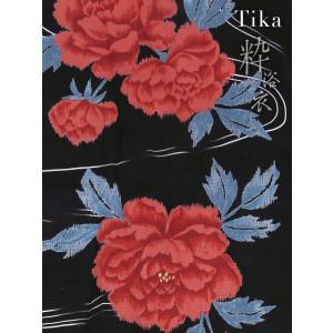 浴衣 ゆかた レディース モダン 上下 セパレート クール 黒 赤 Tika ティカ 二部式浴衣 3点セット セパレート浴衣 帯 下駄 薔薇 M L|tika|10