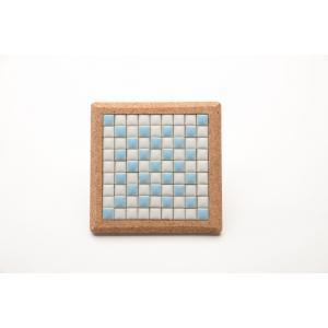 【コースター】 モザイクタイル コルクコースター 12×12cm 【ライトブルー】 青 水色 色彩豊かな全12種 COASTER-LB|tileshopym