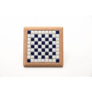 【コースター】 モザイクタイル コルクコースター 12×12cm 【ネイビー】 紺 青 色彩豊かな全12種 COASTER-N tileshopym