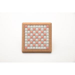【コースター】 モザイクタイル コルクコースター 12×12cm 【ピンク】 桃 桜 色彩豊かな全12種 COASTER-P tileshopym