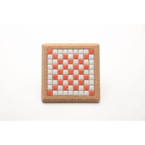 【コースター】 モザイクタイル コルクコースター 12×12cm 【レッド】 赤 色彩豊かな全12種 COASTER-R|tileshopym